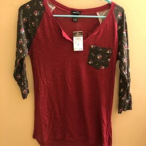 Red and floral long sleeve